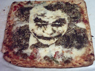 Batman joker food art pizza portrait edible design