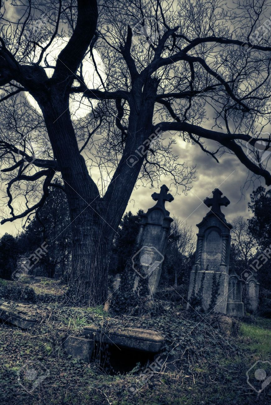 Eye catch 4387069 gothic scene with opened tomb moon stock photo gothic graveyard spooky