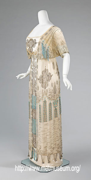 1909 evening dress trainless