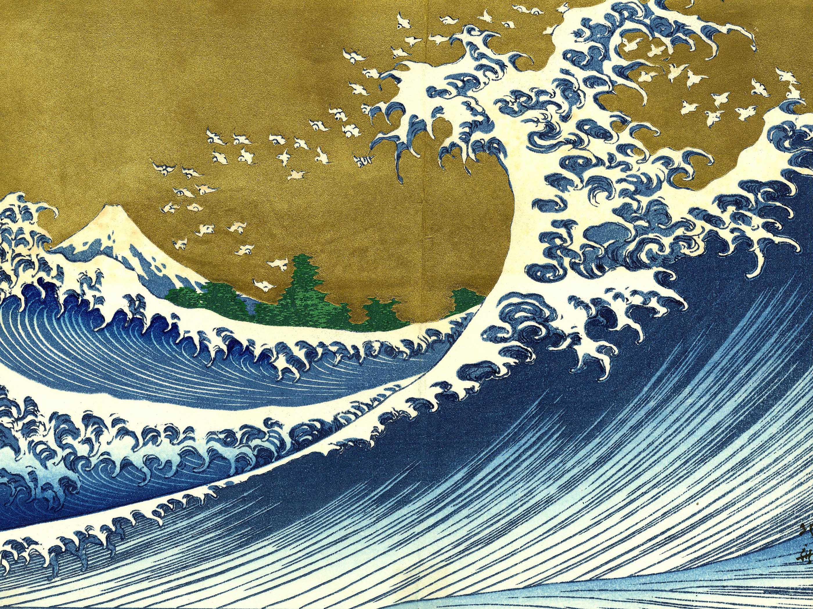 A colored version of the big wave katsushika hokusai